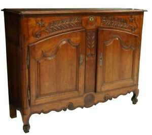 RARE ANTIQUE FRENCH LOUIS XV STYLE LIFT-TOP CARVED SIDEBOARD SIDEBOARD COMMODE