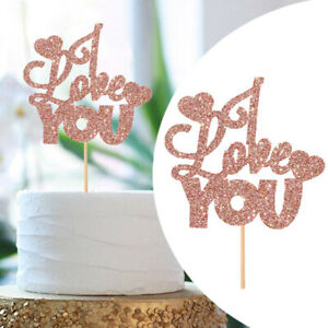 LOVEYOU Cake Topper Party Decorations Insert Card Paper Glitter