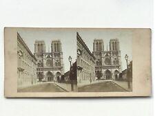 Cattedrale Notre-Dame de Paris Façade Fotografia Stereo Vintage Albumina