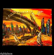 Cityscape  Modern  Original Painting SIGN. Stretched  WALL POP ART  iiyfrvw
