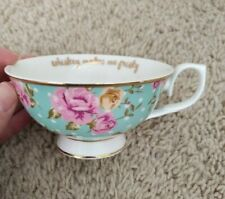 """Never used """"whiskey makes me frisky"""" small dainty cup with roses holds 4oz"""
