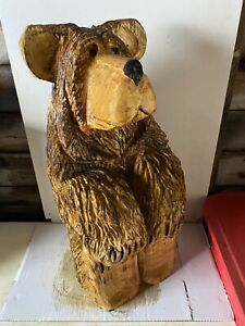 Chainsaw Carved Bear Sitting Bear 24 Inch High Carved Wooden  Bear Carvings