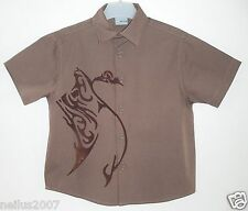 BNWT Boys Smart Red Herring Brown Cotton Short Sleeve Button Shirt Top Age 3-4