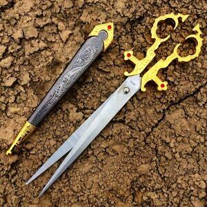 """10.5"""" Renaissance Scissors Dagger Gold Color Handle with Sheath"""
