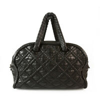 CHANEL Boho style Black Leather Large Bowling bag, chain inside leather handles