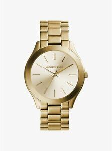 Michael Kors Watch MK3179 Slim Runway Gold-Tone Stainless Steel RRP$329