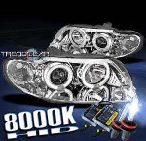 2004 2005 2006 PONTIAC GTO DUAL HALO LED PROJECTOR HEAD LIGHT+HID BASE COUPE 2DR