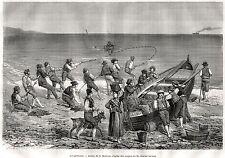 PESCATORI tra MENTONE e BORDIGHERA. Riviera dei Fiori. Stampa Antica. 1871