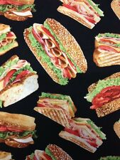 CS442 Sandwich Lunch Meat Bacon Food Cotton Fabric Quilt Fabric