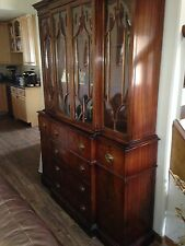 Antique Breakfront Secretary Bookcase c1940's Curved Glass