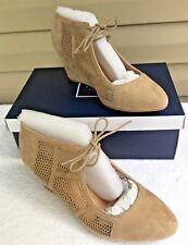 KAARI BLUE Heels SZ 10 Wide Taupe Suede Mesh Wedge Corynn Lace Up Trendy NEW