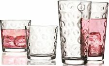 Circleware Circles Huge Set of 16 Drinking Glasses, 8-14oz and 8-13oz Double Old