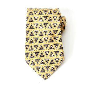 """Lands End Yellow Ornament Necktie Silk Tie 3.5"""" 9 cm 440-449"""