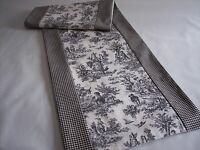 """NEW~72"""" BLACK ON WHITE~WAVERLY Rustic Toile/CHECK~Lined Tablerunner Square Ends!"""