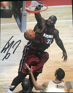 SHAQUILLE O'NEAL SIGNED AUTOGRAPHED MIAMI HEAT 16X20 PHOTO BECKETT WITNESS BAS