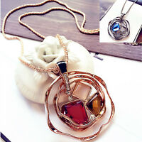 New Women Pendant Necklaces Fashion Sweater Chain Crystal Pendant Necklace Long