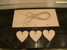 "8"" x 4"" MDF Wooden Plaque Sign Blank Craft Shapes with 3 hanging Hearts + string"