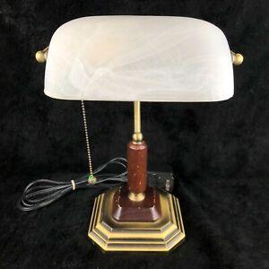Rare Vintage OttLite Vision Saver Carrara H13WA1 Bronze Wood Marble Desk Lamp
