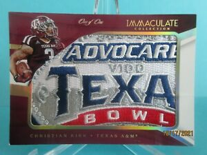 2016 IMMACULATE TEXAS BOWL LOGO FULL PATCH CHRISTIAN KIRK RC #1/1 ONE OF ONE