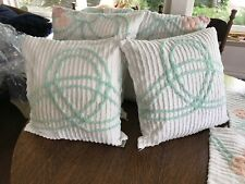 """pr.16"""" wh / mint green geometric vint chenille pillowcases zippers percale back"""