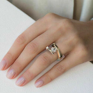 Fashion Women Jewelry Rose Gold Rings White Sapphire Wedding Party Gift Sz 6-10
