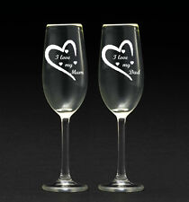 Personalised Engraved Champagne Glasses Wedding Anniversary hen do/set of 2 /16