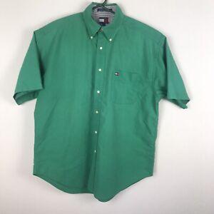 Tommy Hilfiger Men's Short Sleeve Green Button Down Shirt Size Large