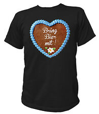 T-Shirt UNISEX Herz - Bring Bier mit - Oktoberfest Wiesn Tracht JGA Lederhose