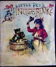 LITTLE PETS JINGLE BOOK Kittens~ Antique 1900's Victorian Chromo 6 Plates