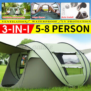 5-8 People Large Automatic Camping Tent Windproof Waterproof Family Hiking Home
