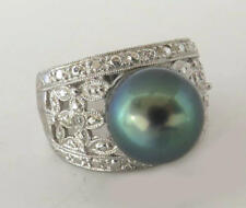 11.4mm Tahitian Pearl Ring Wide Band Filigree Ring Size 7 1/4 Sterling Silver