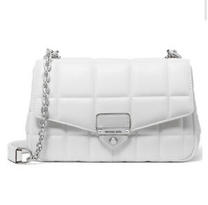 ❤️ Michael Kors Soho Chain Quilted Leather Optic White/Silver  Shoulder Bag
