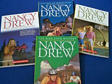 4 Vtg Scholastic NANCY DREW SC BOOKS Bike Tour Mystery, Tornado Alley ++ UNREAD