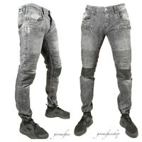 Peviani zip biker star denim jeans, mens g black straight hip hop jogger pants