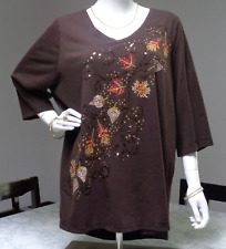 CATHERINES 1X BROWN EMBELLISHED FOLIAGE V-NECK 3/4 TUNIC BLOUSE TOP 18/20W PLUS