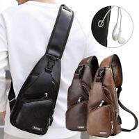 Mens USB Charging Sling Shoulder Chest Bag Cross Body Messenger Leather Backpack