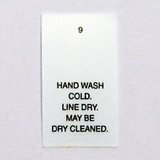 Hand Wash Cold Dry Clean Printed Care Tags Number 9  (pkg 100)