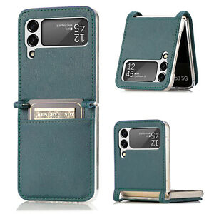 Leather Card Slot Phone Case For Samsung Galaxy Z Flip 3 Hard Protective Cover