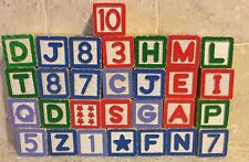 29 wooden Abc Blocks letters numbers pictures wood