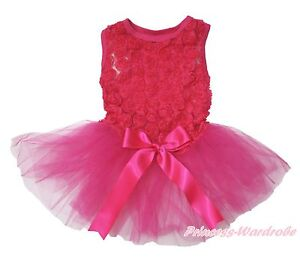 Hot Pink Bow Romantic Rose Sleeveless Gauze Skirt Pet Dog One Piece Dress Outfit