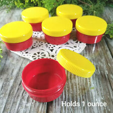 6 New 1 ounce Red Container Yellow Cap Hummingbird Jars Drillable 5303 DecoJars