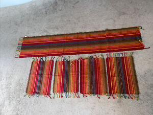Pier One Set of 4 Placemats Striped Red Multi Color Table Runner Tassels