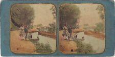 Ile St Denis Paris Attr. à Fraget & Viret  Stereo Vintage albumine colorisé