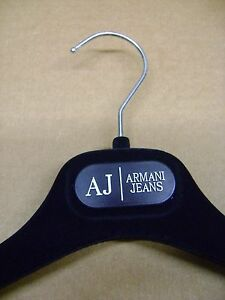 "ARMANI JEANS BLUE VELVET FELT DRESS / SHIRT HANGERS 14 1/2""  SET 2"