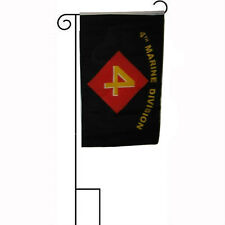"12x18 12""x18"" Usmc 4th Division Sleeved w/ Garden Stand Flag"