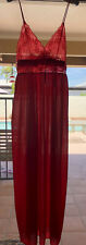 Vintage 80s Gilead Red Nylon Spaghetti Strap Long Nightgown Sheer Lace Sexy
