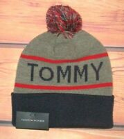 MENS TOMMY HILFIGER  POM POM GRAY BLUE BEANIE HAT ONE SIZE