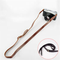Genuine Coffee/Black Leather Camera Neck Shoulder Strap F. SLR DSLR Camera Nikon