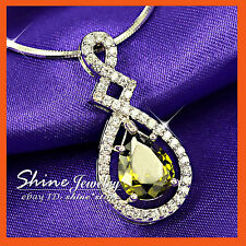 9K WHITE GOLD GF TEAR DROP SIMULATED DIAMOND EMERALD SOLID NECKLACE PENDANT GIFT
