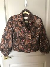 Feraud Women's Vintage Chocolate Brown Patterned Blazer Size 12 NWT
